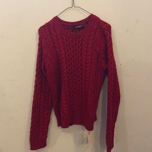 Sies Marjan cotton red cable knit sweater.